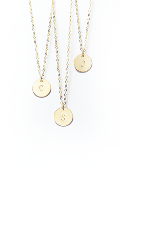 "CUSTOMIZED | <br>Initial Disc Necklace<br> Gold-Filled (1/2"") <br> Without contrast coloring"