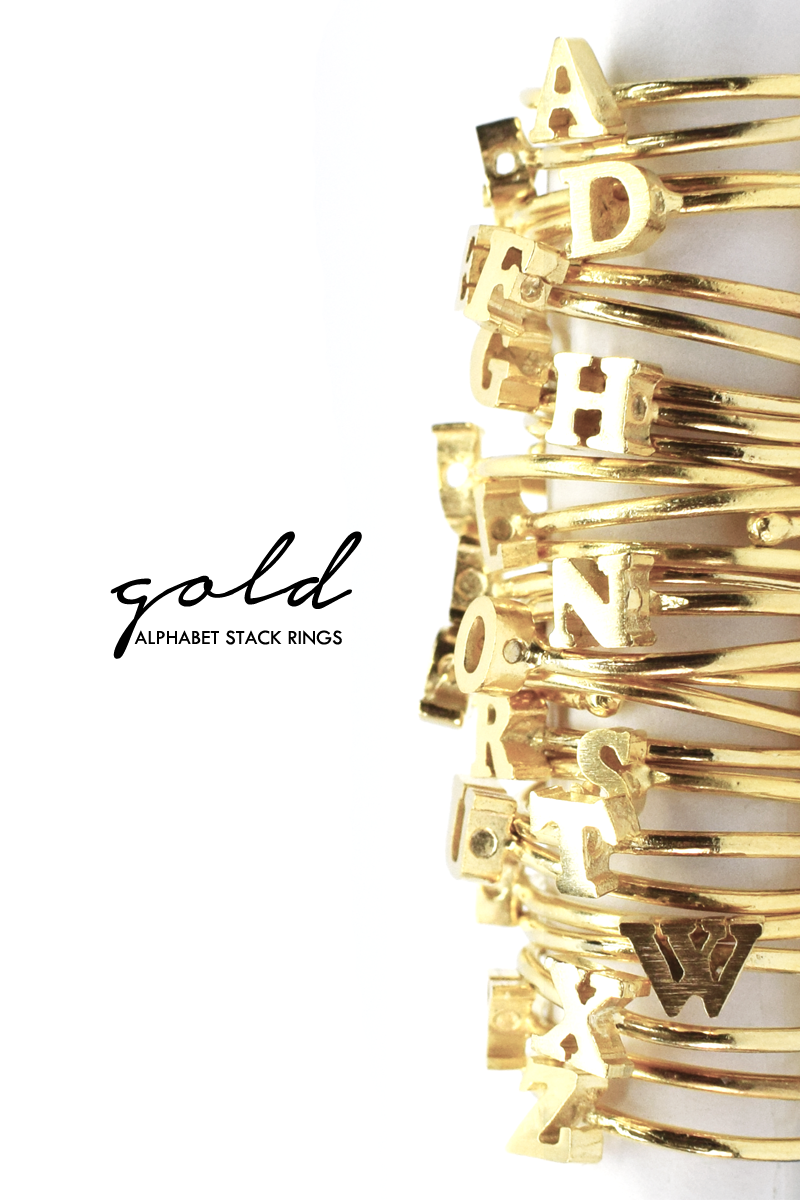 Alphabet Stack Rings (Gold)