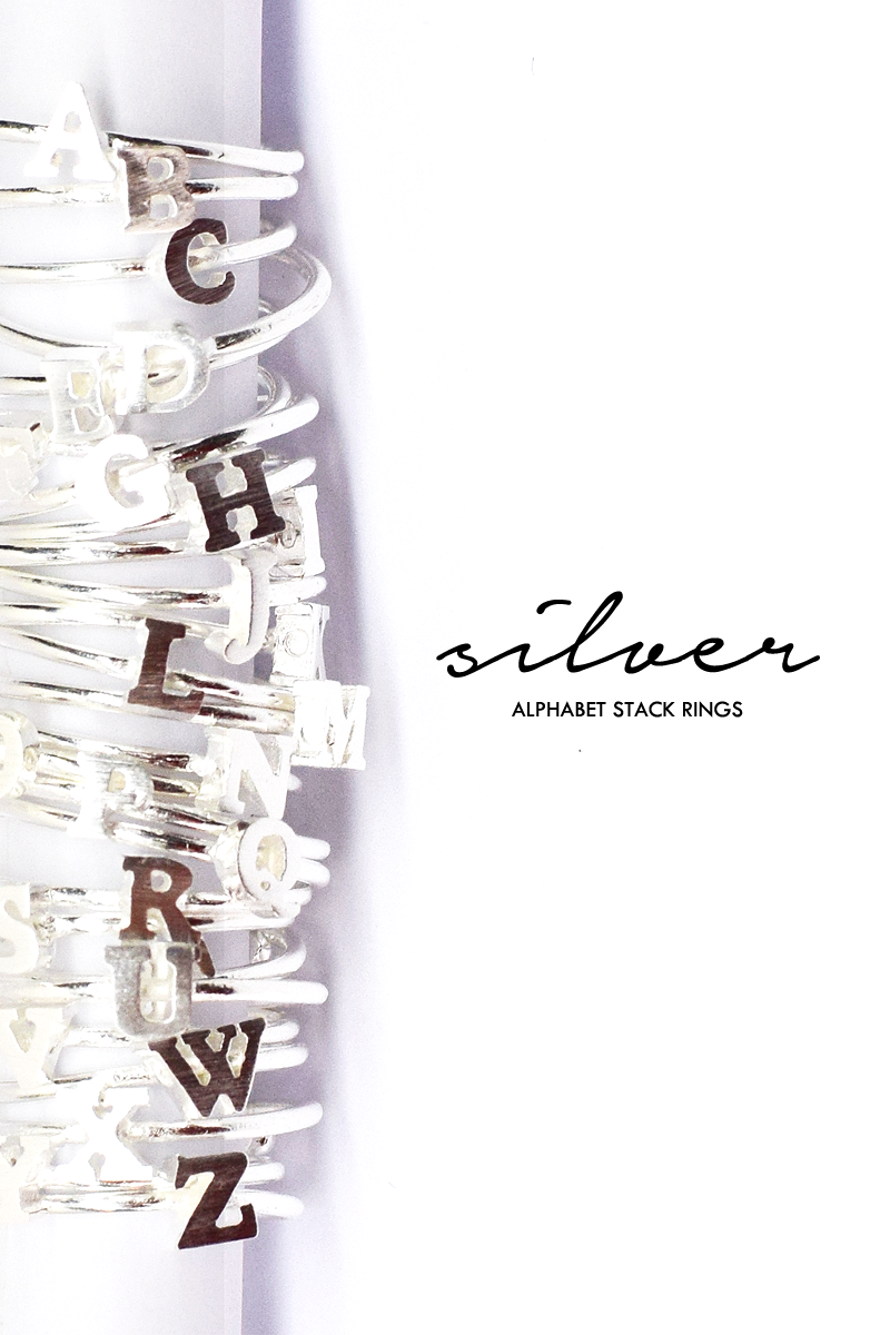 Alphabet Stack Rings (Silver)