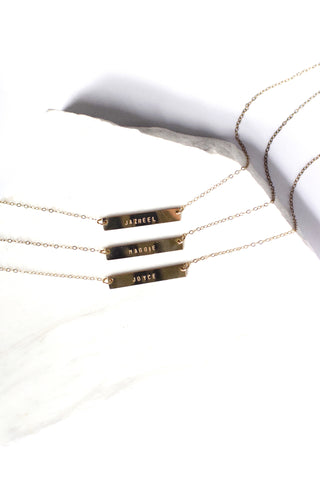 "CUSTOMIZED | <br>Bar Necklace<br> Gold-Filled (1/5"")"