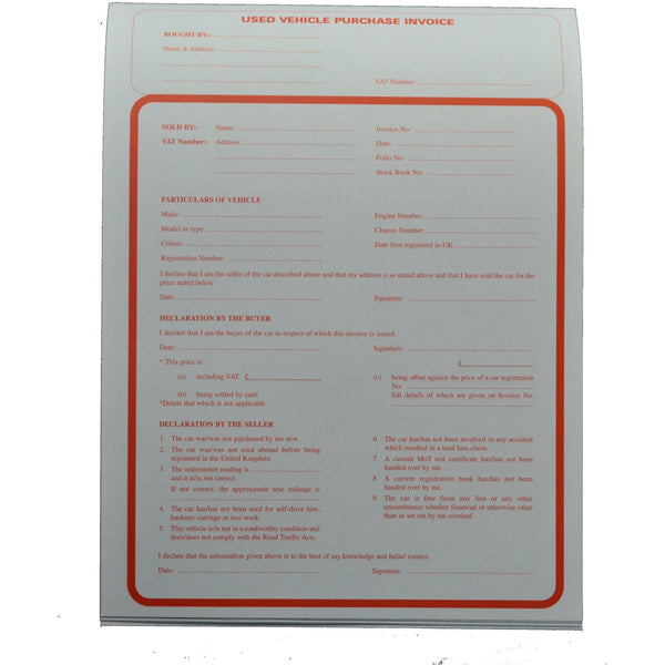 Used Vehicle Purchase Pad - Parma Automotive