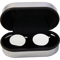 Oval Cufflinks in a Chrome Box