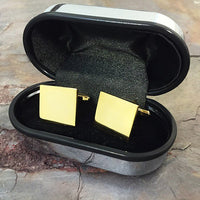 Rectangle Brass Cufflinks in a Chrome Box