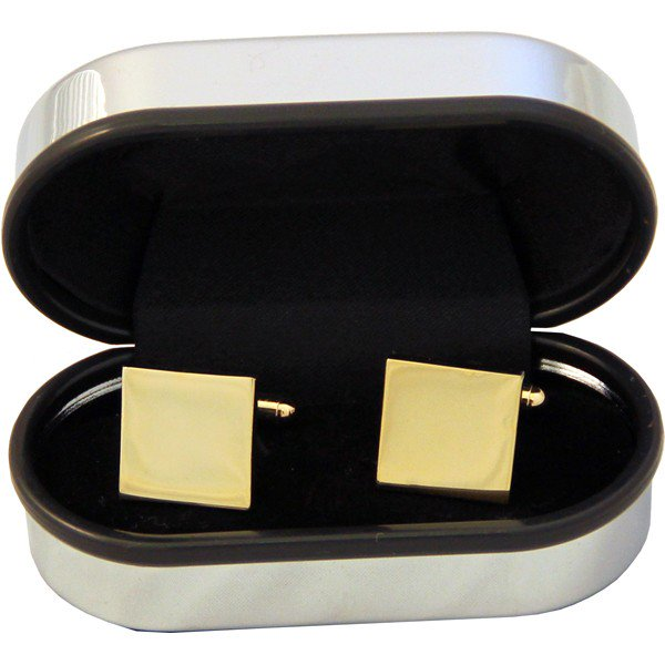 Square Brass Cufflinks in a Chrome Box