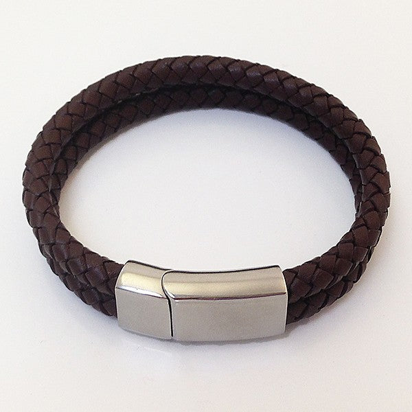 BravaMens Brown Leather Two Row Bracelet