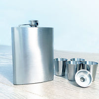 Hunters Flask Set - 8oz Hip Flask with 4 Cups and Funnel