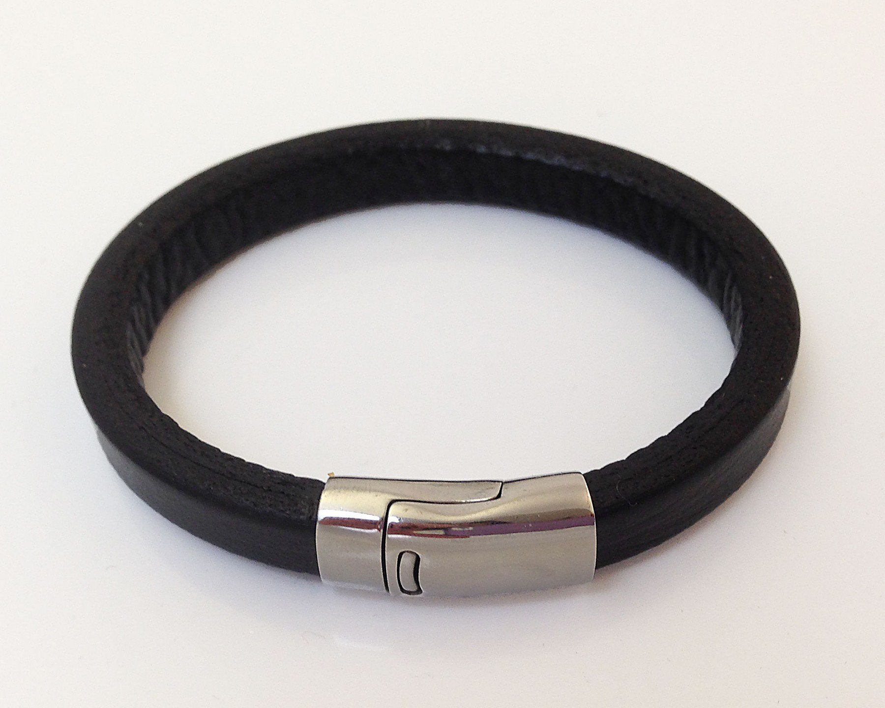 Andres Mens Black Leather Bracelet
