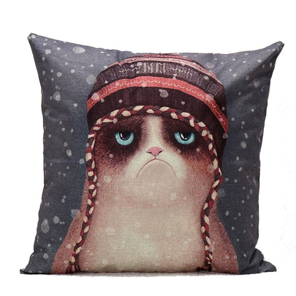 Grumpy Cat Hat Cushion Cover
