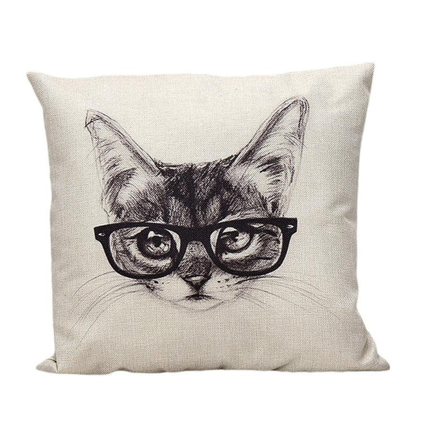 Cat In Glasses Cool Cushion Cover
