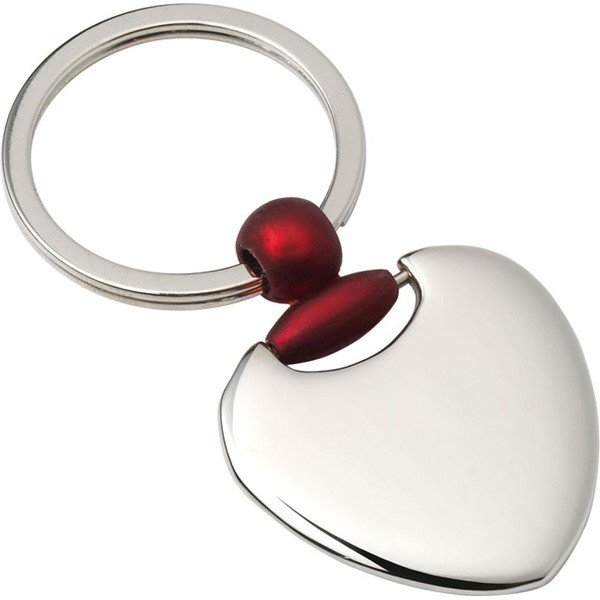 Red Trim Heart Keyring