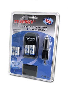 30202 Tenergy 4 Pcs RCR123A 3.0V 900mAh Rechargeable Li-Ion Protected Batteries w/ Smart Charger