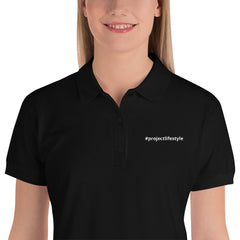 Embroidered Women's Polo Shirt With #projectlifestyle On Left Side Of Shirt