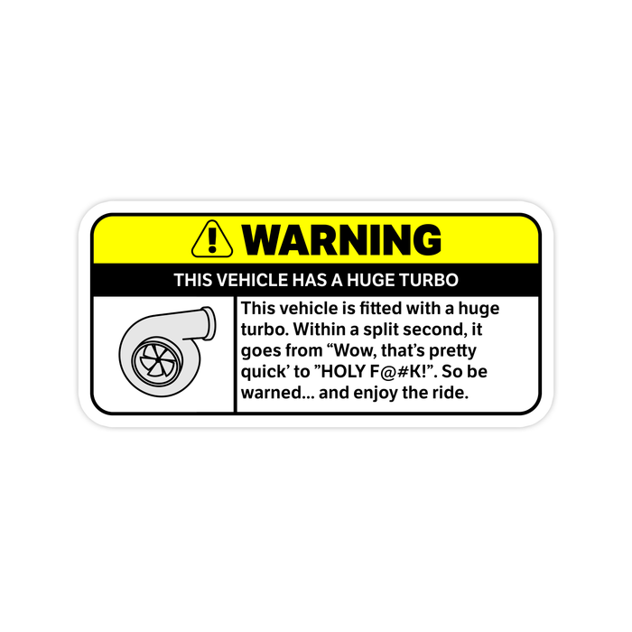 Huge Turbo Warning Sticker