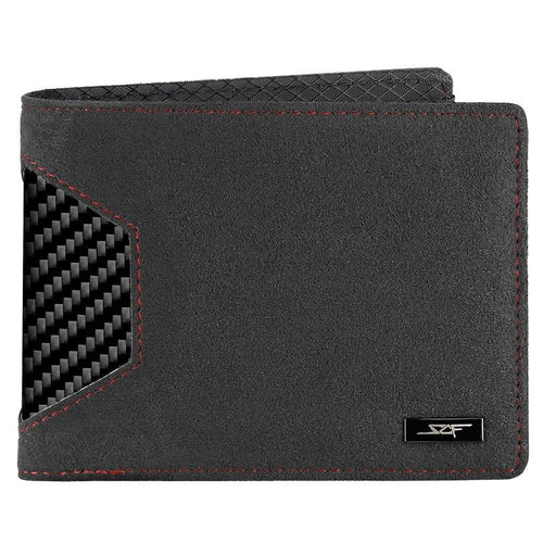 Alcantara & Real Carbon Fibre Bi-Fold Wallet (Red Stitching)
