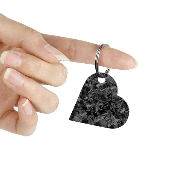 Forged Carbon Fibre Heart Shaped Keychain