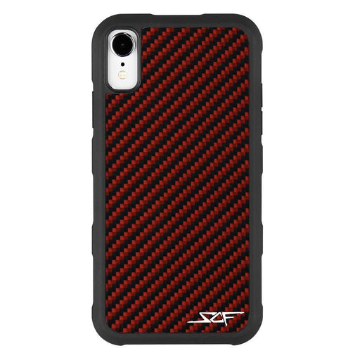 Apple iPhone XR Red Carbon Fibre Phone Case Armor Series