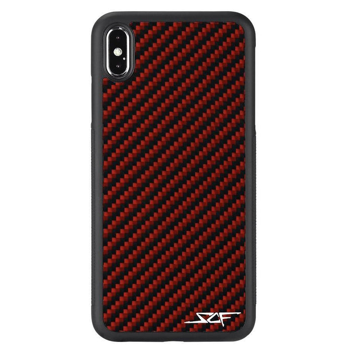 Apple iPhone XS Max Red Carbon Fibre Phone Case Classic Series