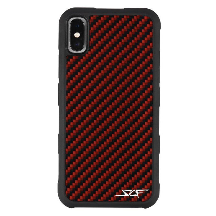 Apple iPhone X & XS Red Carbon Fibre Phone Case Armor Series