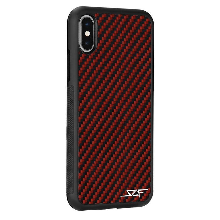 Apple iPhone X & XS Red Carbon Fibre Phone Case Classic Series