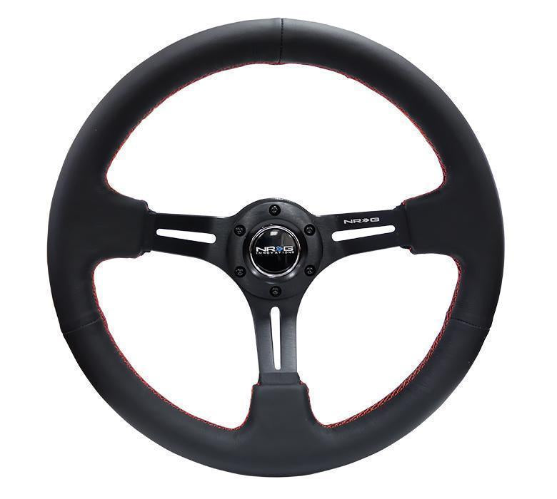 NRG Reinforced Steering Wheel- 320mm Sport Leather Steering Wheel W/ Red Stitch
