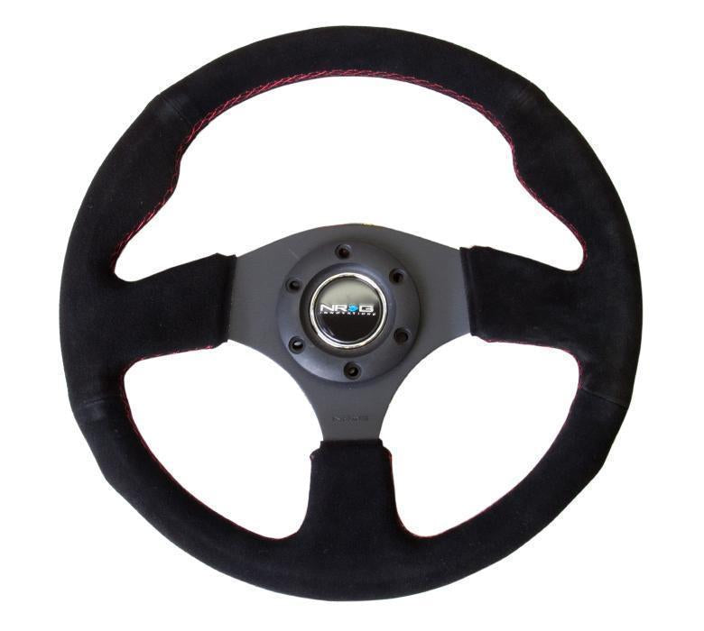 NRG Reinforced Steering Wheel- 320mm Sport Suede Steering Wheel W/ Red Stitch