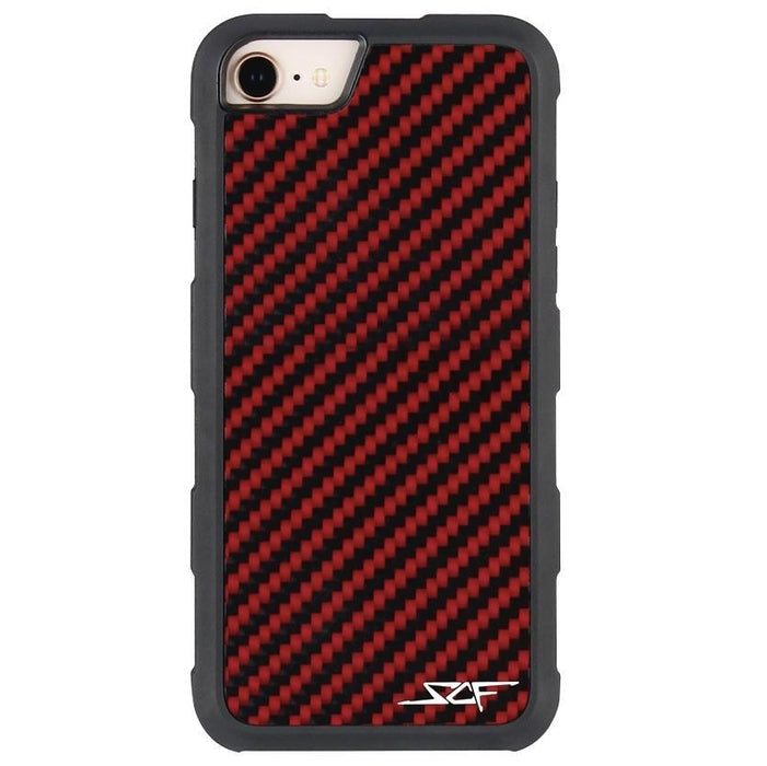 Apple iPhone 6/7/8 Red Carbon Fibre Phone Case Armor Series
