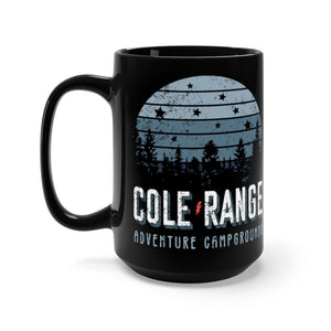 Retro Cole Range Adventure Campground 15oz Black Mug Mug Printify 15oz