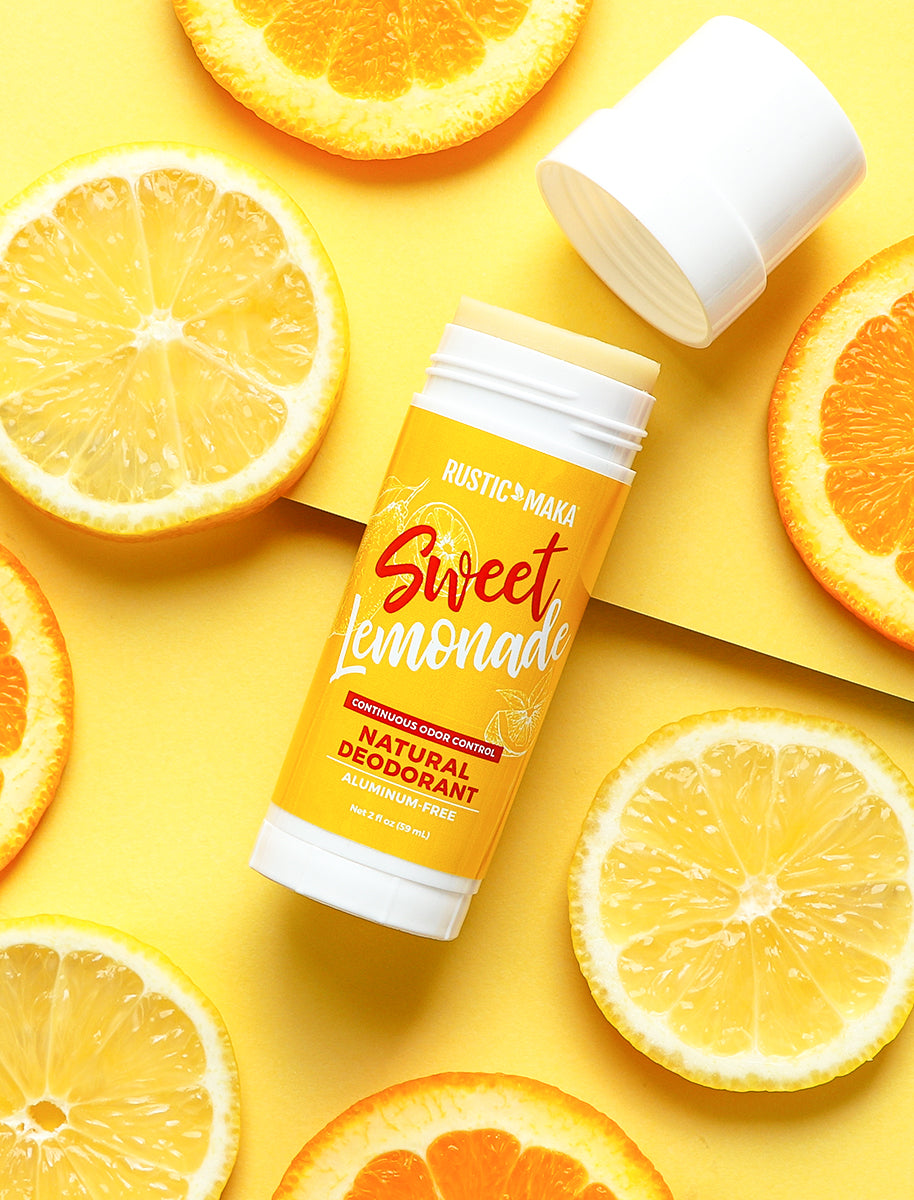 picture of sweet lemonade natural deodorant with cap off