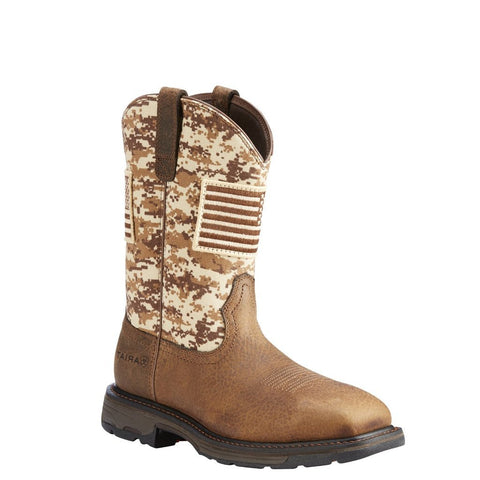 Ariat® Men's WorkHog Patriot Earth/Sand Camo Boots - Square Toe[10023100]
