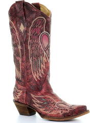 Corral Women's Red Wings and Heart Inlay Boots - Snip Toe [A3409]