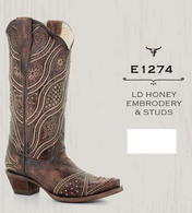 Corral Women's Honey & Embroidery Western Boot [E1274]