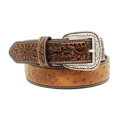 Ariat Western Belt Men's Ostrich Tooled Leather Brown [A1017202]