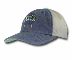 Hooey Nana Teal & Denim Ladies Trucker Cap [1678T-GYTN]