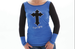 Cowgirl Tuff Women's Blue/Black Long Sleeve Tee [100001]
