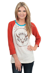 Ariat® Women's Cream and Orange Cabeza Longhorn Baseball Tee [10015673]