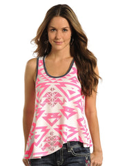 Rock and Roll Cowgirl Junior Aztec Print Sleeveless Tank [49-3392]