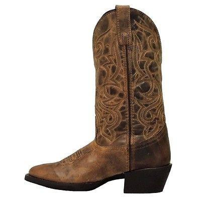 Laredo Ladies Brown Round Toe Embroidered Boots [51112]