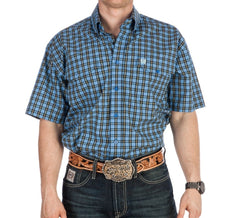 Cinch Western Shirt Mens S/S Woven Button Plaid Blue [MTW1112001] only s left