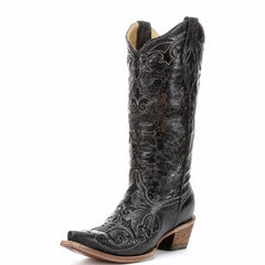 Corral Women's Black Vintage Lizard Inlay Snip Toe Boot [C1198]