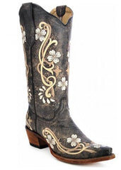 Circle G by Corral Women's Floral Snip Toe Boots [L5175]