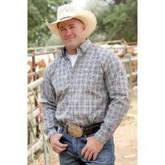 Cinch Western Shirt Mens Long Sleeve Plaid Button Charcoal [MTW1103678]