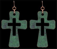 Silver Strike Patina Cross Earrings  [E8102]