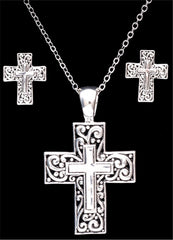 Silver Strike Cross Earring & Necklace Set [EN1130]