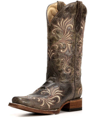 Circle G by Corral Women's Cowhide Square Toe Boot with Embroidery [L5194]
