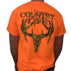 Country Life Men's Orange with Camo Skull T-Shirt [S4CSKULL-OR]