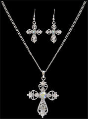 Silver Strike Crystal Cross Earring & Necklace Set [EN2260]