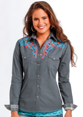 Panhandle Slim Women's Vintage Geometric Embroidered Shirt [R4S9299]