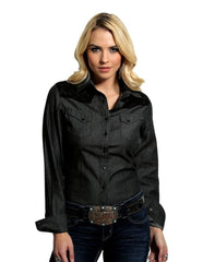 Cruel Girl Women's Arena Fit Black Chambray Lace Snap Shirt [CTW7041001]