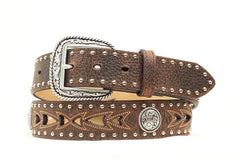 Ariat® Western Belt Mens Cut Out Floral Studs Conchos Brown [A1015202]