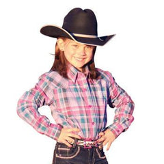 Cruel Girl Western Shirt Girls L/S Weave Plaid Pink [CTW6330002]